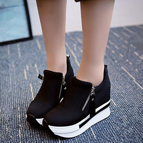 GAOLIM Zapatos De Mujer Solo Zapatos Zapatos De Bajo Espesor Bizcocho De Subida Dentro De Los Zapatos De Lona Zapatos De Primavera Un negro