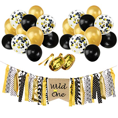 Find Discount Wild One Banner Gold Black Confetti Balloons Kit, 12 Gold Black Confetti Latex Balloo...