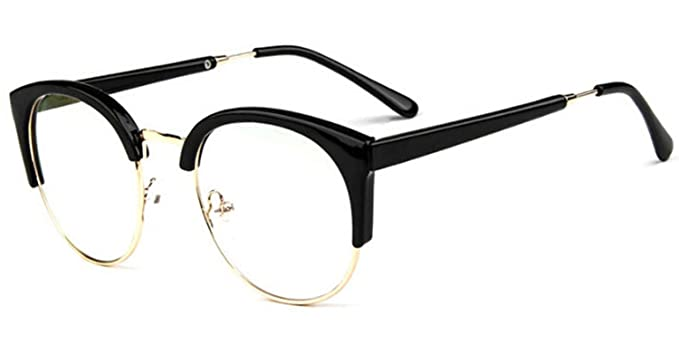 de7421afe3 Unisex Adult Retro Vintage Half Frame Eyewear Glasses Round Optical Clear  Lens Eyeglasses Frame (Black