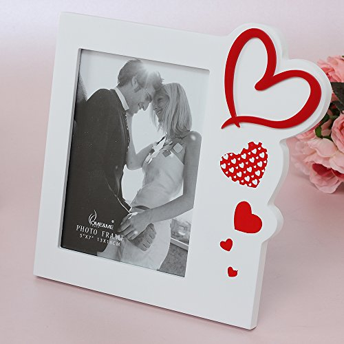 Talented Things 5x7 Wooden Photo Frame in White with Hearts in Red, I Love You, Contemporary, Perfect for Mother's Day, Birthdays or Anniversaries. Picture Size 5x7 (RED HEARTS, 5 x (Valentines Day Frame)