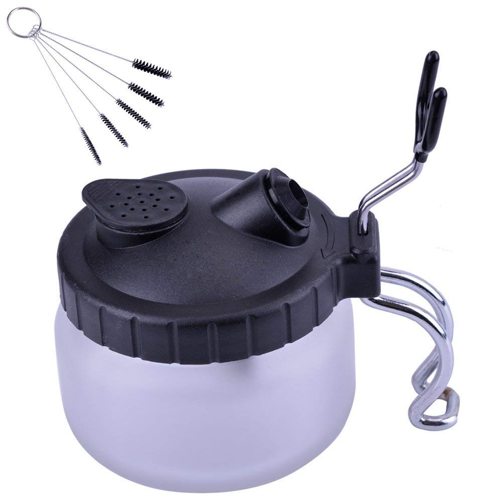 M-Aimee Airbrush Cleaning Pot, Clean Paint Jar with Air Brush Holder + Nozzle Cleaning Brush Set