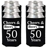 Shop4Ever Cheers & Beers to 50 Years Can Coolie Birthday Drink Coolers Coolies Black - 12 Pack
