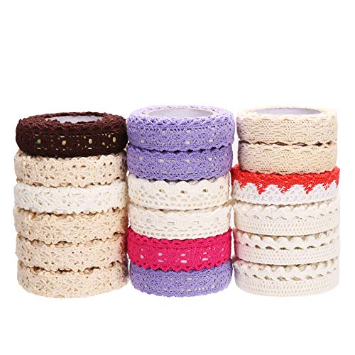 (CCINEE 18pcs Assorted Lace Trim Ribbon Tape Self-Adhesive Decorative Lace Fabric Washi Tapes for Crafts Making & Scrapbooking )