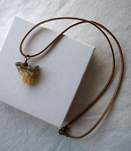 Natural Citrine Quartz Geode Wire Wrapped Pendant on Tan Faux Suede Cord