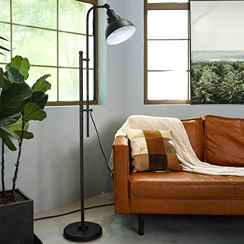 CO-Z Industrial Floor Lamp Adjustable, 65 Inches Rustic Floor Task Lamp in Aged Bronze Finish, Standing Lamp with Metal Shade for Living Room Reading Bedroom Office, ETL.