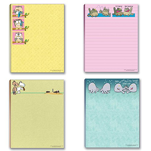 Cute Note Pad Assorted Pack - 4 Funny Notepads, Notepad Set, Gift Set