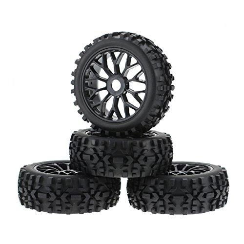 Hobbymarking 4Pcs RC 1/8 Scale Baja Car Tires Tyre Wheel Rim 17mm Hex RC Buggy Off-Road Redcat HSP HPI (Black)