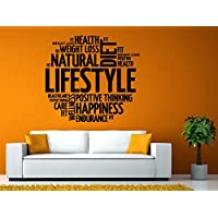 Wall Decals Cute-Healthy Natural Lifestyle Health Endurance Weight Loss Happiness Words Motivation Diet Wall Stickers Decals Vinyl Mural Decor Art - Made in USA-Fast delivery