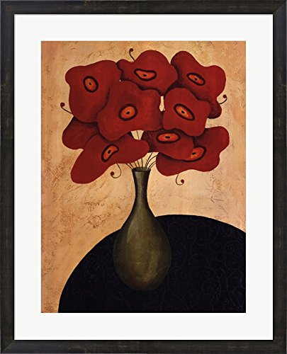 Bouquet Rouge by Jocelyne Anderson-Tapp Framed Art Print Wall Picture, Espresso Brown Frame, 25 x 31 inches