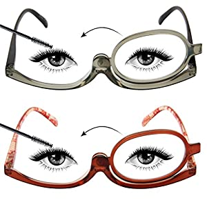 LianSan Designer 2 Pack Makeup Reading Glasses Magnifying Womens Cosmetic Readers Make up Rotating Lens Glasses L3660, GY-BN, +3.50