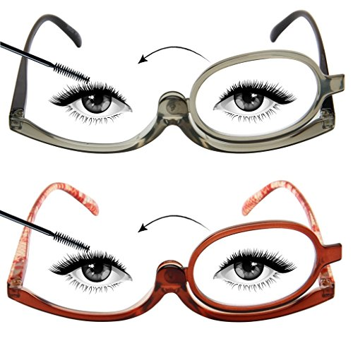 LianSan Designer 2 Pack Makeup Reading Glasses Magnifying Womens Cosmetic Readers Make up Rotating Lens Glasses L3660, GY-BN, - For With Glasses Makeup Tips
