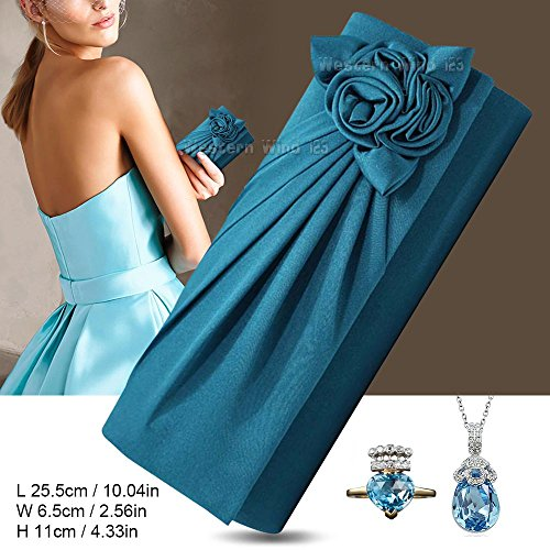 Handbag bag Wocharm Turquoise Pattern Pleated banquet Womens Evening Party TM Clutch dinner Prom Wedding Satin Bouquet Bag Rose 8aT8ZSrqw