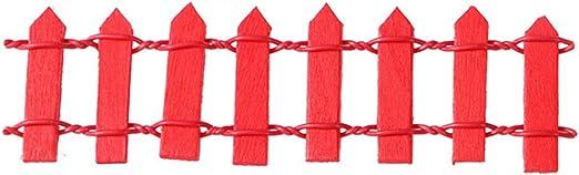 Healifty Mini Pequeña Valla Flexible de Madera DIY Casa de Muñecas de Hadas Jardín de Micro Planta Decoraciones de Navidad Decoracion de Planta Maceta(Rojo): Amazon.es: Hogar