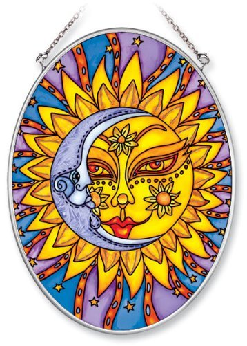 Amia Hand Painted Glass Suncatcher with Celestial Design, 5-1/4-Inch by 7-Inch Oval (Celestial Suncatcher)