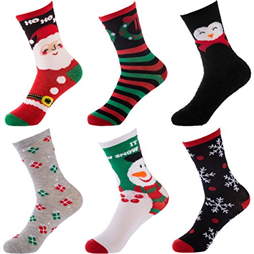 Set Of 6 Pairs Womens Christmas Socks Crew Dress Ladies Santa Striped Snowflake Bulk