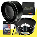 72mm Wide Angle + 2x Telephoto Lenses for Canon EOS Rebel T2i with Canon 50mm f/ 1.2 USM Lens + DavisMAX Fibercloth Deluxe Lens Bundle
