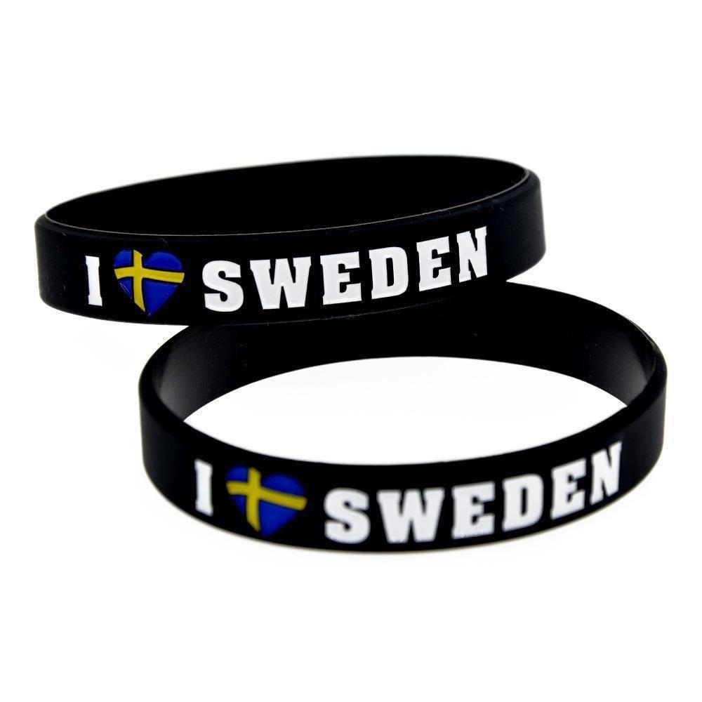 North King Silikon-Armbänder mit Sprüchen 'Ich Liebe Schweden' Silikon-Armbänder für Kinder Motivation Kautschuk (Armbänder für Männer, 1 Set 0 Stück