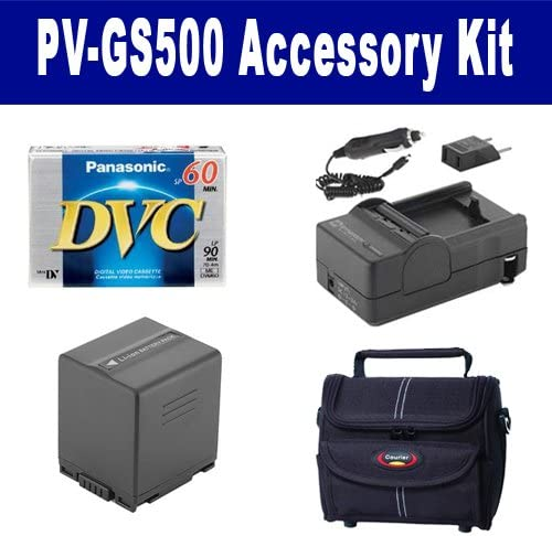 Panasonic PV-GS500 Camcorder Accessory Kit Includes: SDM-130 Charger ST80 Case SDCGADU21 Battery DVTAPE Tape//Media