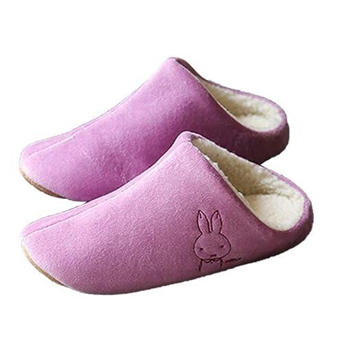 5d25390cefa22 Femmes Hommes Dessin Animé Pantoufles Amoureux Chaud Lapin Coton Maison  Plancher Mignon Peluche Indoor Couple Chaussures
