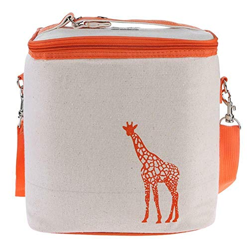 Portable Canvas Insulated Lunch Food Bag Picnic Storage Cooler Thermal Bag (Color - Orange)