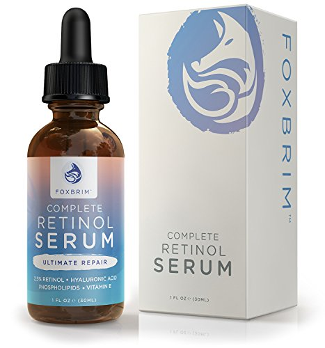 Foxbrim Retinol Facial Serum - 2.5% Phospholipid Based - Anti Aging Face Serum - With Vitamin A, Hyaluronic Acid & Organic Jojoba Oil - 1OZ