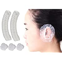 100PCS Diameter 3.4inch Transparent Plastic Elastic Disposable Hair Dyer Ear Protector Covers Bathing Shower Caps Waterproof Ear Prtotection Earmuff for Hair Salon Women Spa