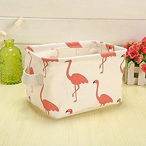 Dosige Pájaro rosado Patrón de dibujos animados Tela sin tejer Caja de almacenamiento cajas de almacenaje para sujetadores, ropa interior, lencería y otros ...