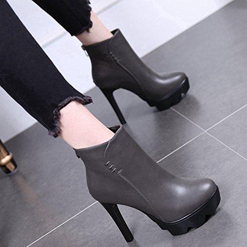 Algodón Cabeza Gray Zapatos Terciopelo Otoño Invierno Ultra La Botas GTVERNH Sexy De Redonda Taiwán De De Fino Y Como Además Botas Alta Mujer Martin 7AT7w6gqx