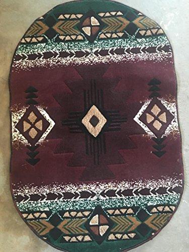 (Concord Global Trading Southwest Native Oval American Area Rug Burgundy & Green Design C318 (3 Feet X 4 Feet 7 Inch))