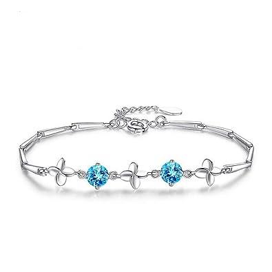 ee8b52ef2362 Zolkamery Women s Clover Bracelets 925 sterling Silver Aquamarine Blue  Cubic Zirconia Bracelet Chain 16 + 3cm