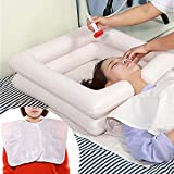 Inflatable Portable Bed Shampoo Basin, Deluxe Inflatable Shampoo Basin with Drain, and air pump,Tube for Injured,Disabled, Handicapped,Elderly and Bed-Bound,White