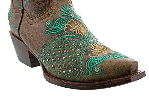 Cowboy Professionnel Femmes Marron Turquoise Marfil Mariage Cow-boy Bottes Snip Marron Suppléant