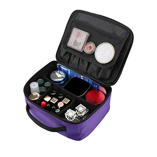 Travel Makeup Train Case, Professional Cosmetic Bag Portable Toiletry Bags with 3 Layers Adjustable Divider for Women Girls