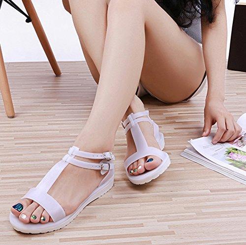 Minetom Mujeres Verano Casual Zapatos Dulce Peep Toe T-Correa Cleated Redondas Sandalias Jalea Playa Zapatillas Blanco