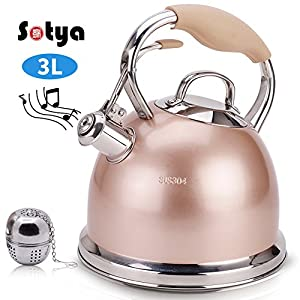 Sotya Best Teakettle Tea Kettle Pot Whistling Stainless Steel stove top Teapot 2.75 Quart Stovetop Kettle with Multi-layer capsule bottom Champagne Color detachable anti-hot gloves