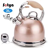 yellow tea kettle stainless steel - Sotya Best Teakettle Tea Kettle Pot Whistling Stainless Steel stove top Teapot 2.75 Quart Stovetop Kettle with Multi-layer capsule bottom Champagne Color detachable anti-hot gloves