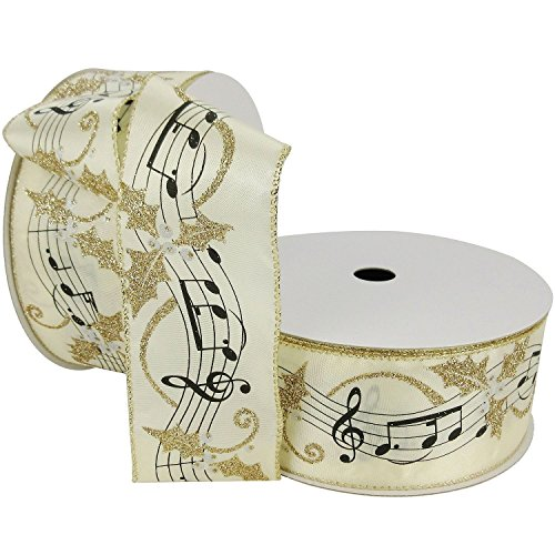 50 Yards Designer Wired 2.5 Wide Christmas Music Note Ribbon