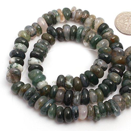 Agate Semi Stone Precious (Joe Foreman Moss Agate Beads for Jewelry Making Natural Gemstone Semi Precious 3-5x10-12mm Freeform Potato Shape 15