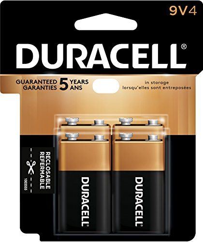Duracell Coppertop 9v Batteries - Duracell CopperTop Alkaline Batteries, 9V, Pack of 4 Batteries (MN16RT4Z)