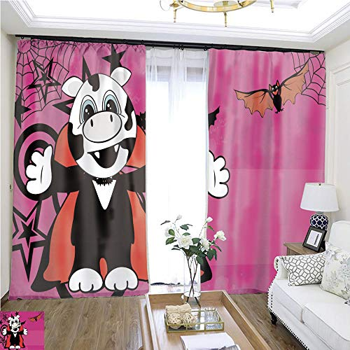 (Rollup Window Cute Little Cow Hug Dracula Costume Halloween backgorund W72 x L74 Eliminate The Turf Highprecision Curtains for bedrooms Living Rooms Kitchens)