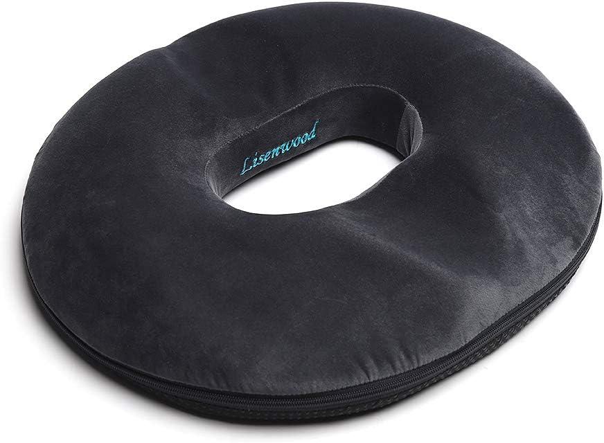 Lisenwood Donut Pillow Hemorrhoid Cushion - Memory Foam Donut Seat Cushion - Tailbone Pain Relief Cushion for Pregnancy, Coccyx, Bed Sores, Back, Sciatica - Premium Non-Slip Sitting Donut Cushion
