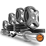 XMark Convict 6' Rackable Olympic EZ Curl Bar with Signature 135 lb. Olympic Plate Weight Sets, Use with Any Squat Rack, Squat Stand, Olympic Bench, Bicep Curl and Triceps Bar Exercises