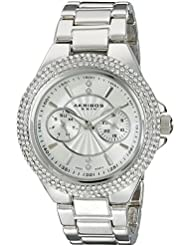 Akribos XXIV Womens AK789SS Multifunction Swiss Quartz Movement Watch with Silver Dial and Bracelet