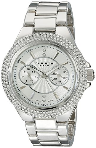 Akribos XXIV Women s AK789SS Multifunction Swiss Quartz Movement Watch with Silver Dial and Bracelet