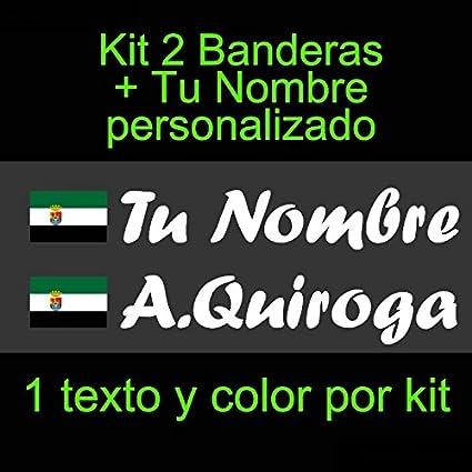 Vinilin - Pegatina Vinilo Bandera Extremadura + tu Nombre - Bici, Casco, Pala De Padel, Monopatin, Coche, etc. Kit de Dos Vinilos (Blanco): Amazon.es: Coche y moto