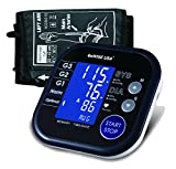 GoWISE USA Portable Automatic Digital Blood Pressure Monitor w/ Hypertension Indicator & Large Size Cuff- Upper Arm (Black White)