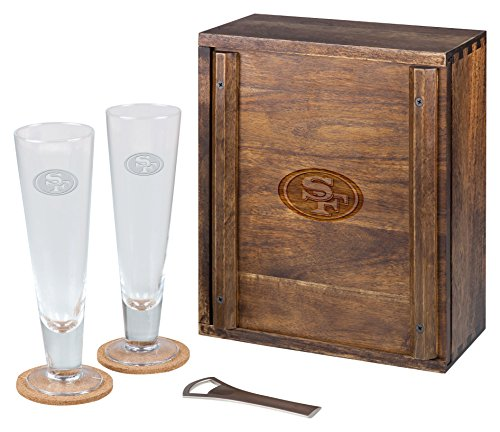 PICNIC TIME NFL San Francisco 49ers Acacia Wood Pilsner Beer Glass Gift Set for Two