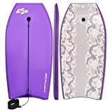 Goplus 41 inch Super Bodyboard Body Board EPS Core, IXPE Deck, HDPE Slick Bottom with Leash, Light Weight Perfect Surfing for Kids and Adults (Purple)