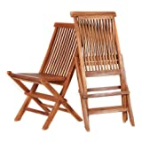 All Things Cedar TF22-2 Special Price Combo Teak Folding Chair Set (Set of 2) For Sale