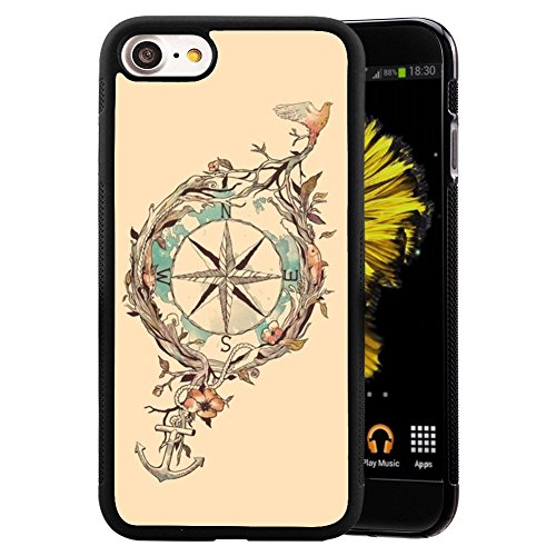 iPhone 7 8 Case With Compass Anchor Flower Pattern Whimsical Design Bumper Black Soft TPU and PC Protection Anti-Slippery &Fingerprint Case For iPhone 7 8